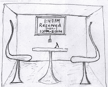 Cartoon of two empty chairs in one on one room.
