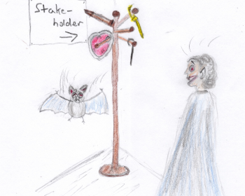 "A coat rack ""stake holder"" with various stakes and a bat and vampire looking shocked."